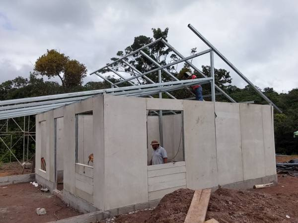 walls up, roof going up